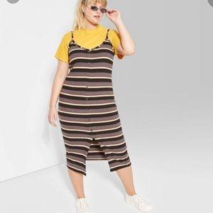 Target Plus Size V-Neck Striped Knit Midi Dress